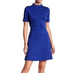 The vanity room royal blue ponte fit flare dress